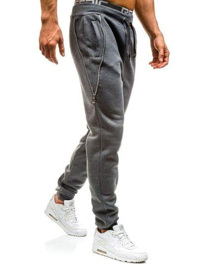 Spodnie dresowe joggery męskie grafitowe Denley x060