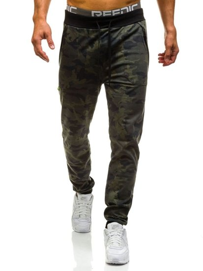 Spodnie dresowe joggery męskie moro-khaki Denley 1359