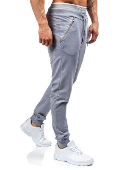 Spodnie dresowe joggery męskie szare Denley 2652
