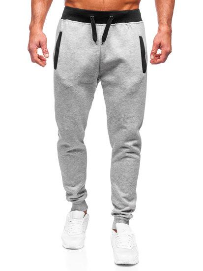 Spodnie dresowe joggery męskie szare Denley AK13