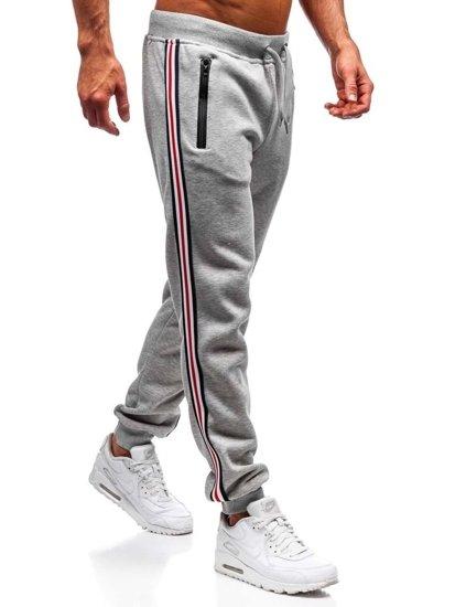 Spodnie dresowe joggery męskie szare Denley KZ03