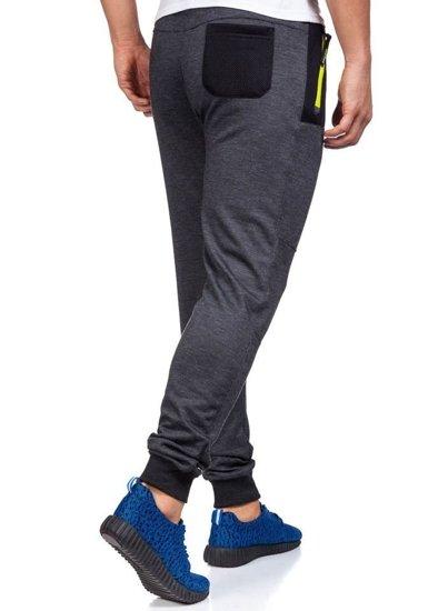 Spodnie dresowe męskie antracytowo-seledynowe Denley 3723