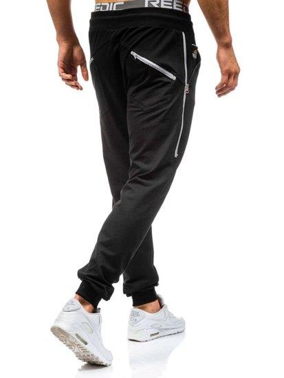 Spodnie dresowe męskie czarne Denley 0415
