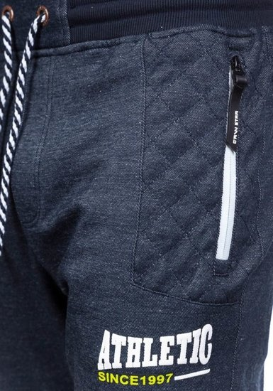 Spodnie dresowe męskie granatowo-białe Denley 3724