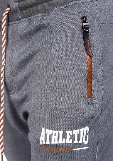 Spodnie dresowe męskie szaro-brązowe Denley 3740
