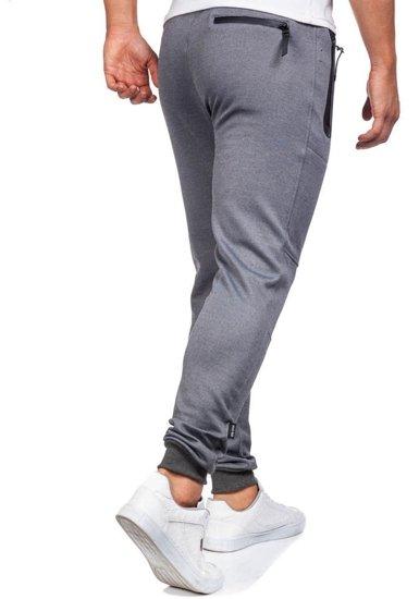 Spodnie dresowe męskie szaro-czarne Denley 3720