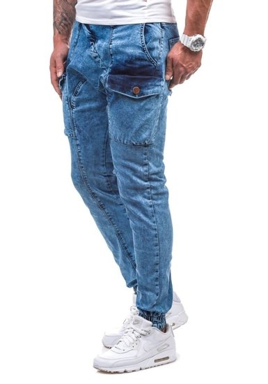 Spodnie jeansowe baggy męskie błękitne Denley 191