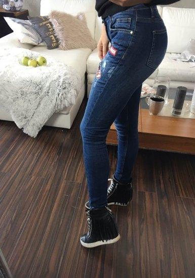 Spodnie jeansowe damskie granatowe Denley 636