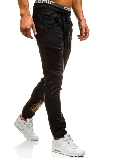 Spodnie jeansowe joggery męskie czarne Denley 0806