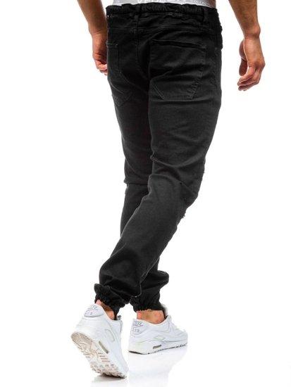 Spodnie jeansowe joggery męskie czarne Denley 456