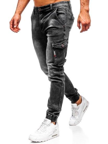Spodnie jeansowe joggery męskie czarne Denley  KA738
