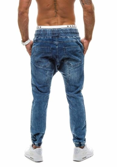 Spodnie jeansowe joggery męskie granatowe Denley 800