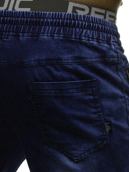 Spodnie jeansowe joggery męskie granatowe Denley HY185