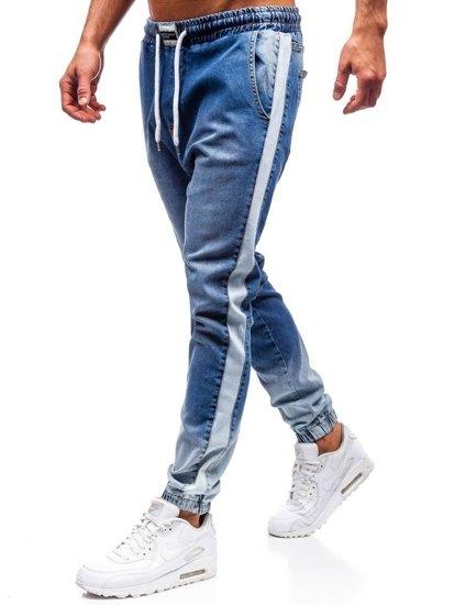 Spodnie jeansowe joggery męskie niebieskie Denley 2047