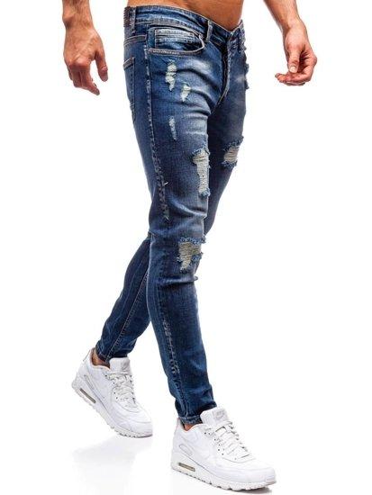 Spodnie jeansowe męskie granatowe Denley 1020