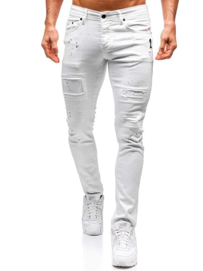 Spodnie jeansowe męskie skinny fit białe Denley 4020