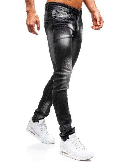 Spodnie jeansowe męskie skinny fit czarne Denley 9231