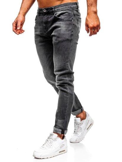 Spodnie jeansowe męskie slim fit czarne Denley KX311