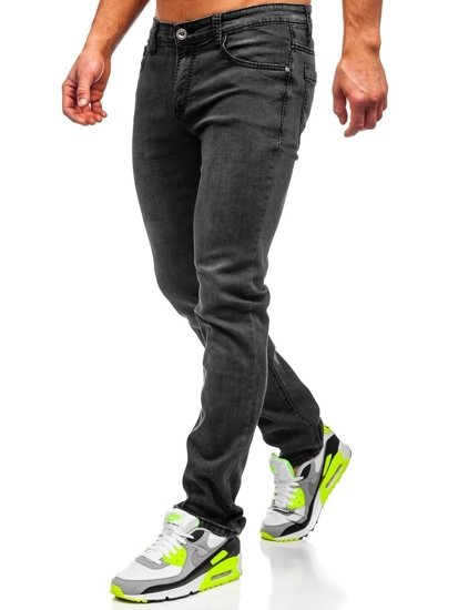 Spodnie jeansowe męskie straight leg czarne Denley KA1063