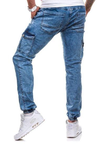 Spodnie joggery bojówki męskie niebieskie Denley 813