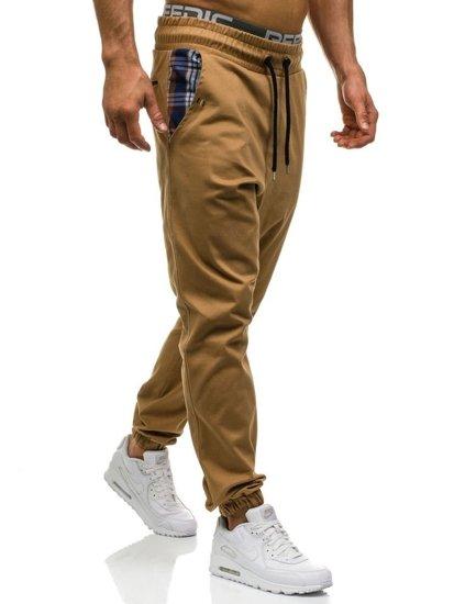 Spodnie joggery męskie camelowe Denley 0449