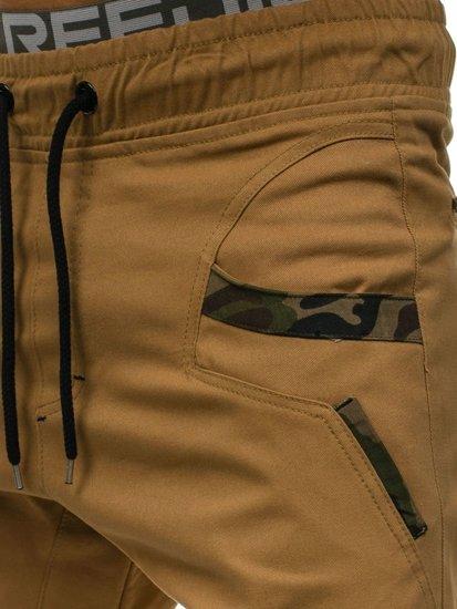 Spodnie joggery męskie camelowe Denley 0473