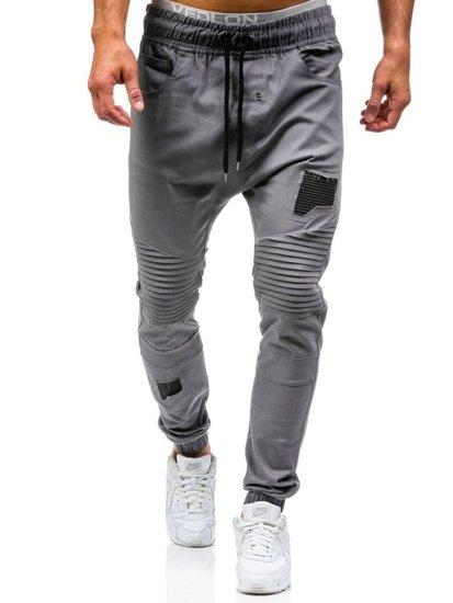 Spodnie joggery męskie szare Denley 0829