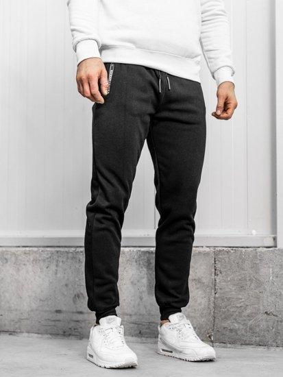 Spodnie męskie dresowe czarne Denley JX8930
