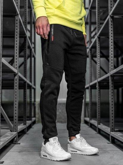 Spodnie męskie dresowe czarne Denley JX8953