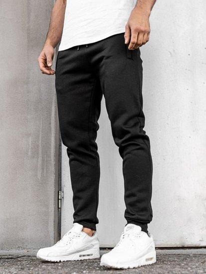 Spodnie męskie dresowe czarne Denley JX8978