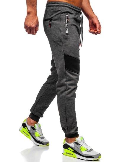 Spodnie męskie dresowe czarne Denley TC878