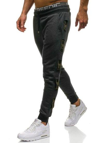 Spodnie męskie dresowe grafitowo-zielone Denley 0921