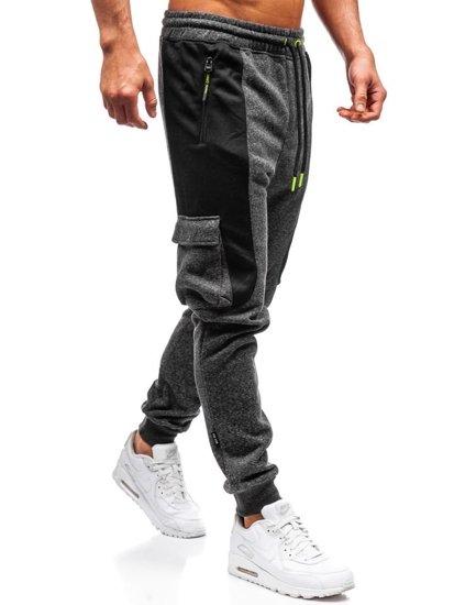 Spodnie męskie dresowe joggery czarno-neonowe Denley Q3774