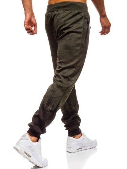 Spodnie męskie dresowe joggery zielone Denley HM008