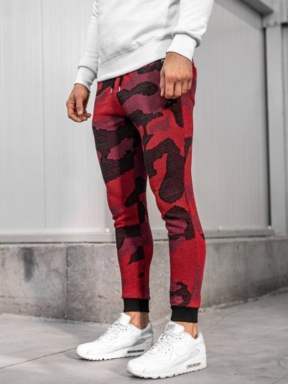 Spodnie męskie dresowe moro-czerwone Denley 0917