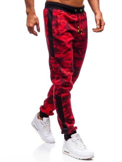Spodnie męskie dresowe moro-czerwone Denley 55017