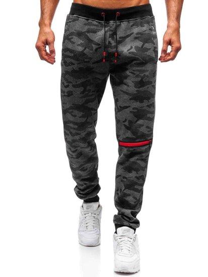 Spodnie męskie dresowe moro-grafitowe Denley 55028