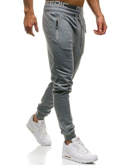 Spodnie męskie dresowe szare Denley JX8018