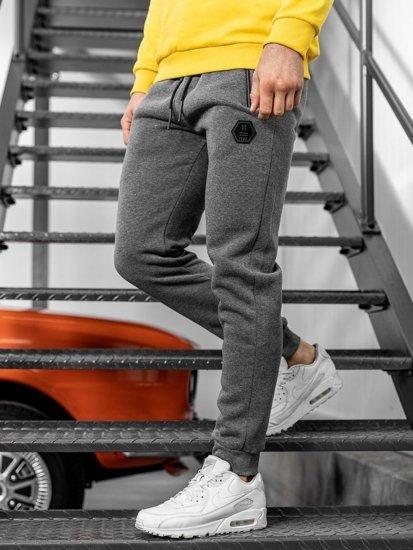 Spodnie męskie dresowe szare Denley JX8651