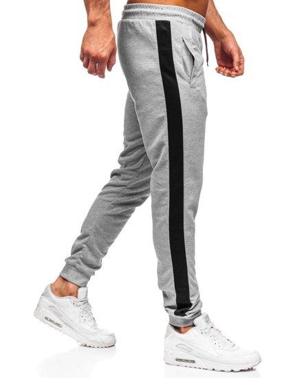 Spodnie męskie dresowe szaro-czarne Denley JZ11008
