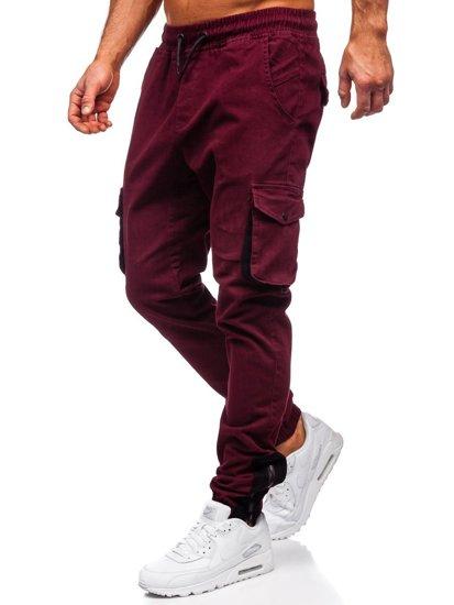 Spodnie męskie joggery bojówki bordowe Bolf 0705