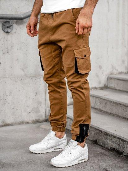 Spodnie męskie joggery bojówki camelowe Bolf 0705
