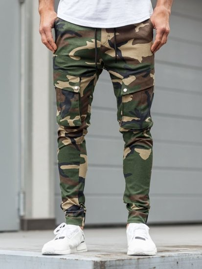 Spodnie męskie joggery bojówki moro-khaki Denley 1003