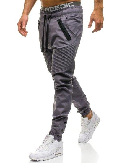 Spodnie męskie joggery szare Denley 0952