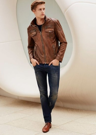 Stylizacja nr 63 - kurtka skórzana, T-shirt, spodnie jeansowe