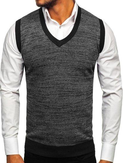 Sweter męski bez rękawów czarny Denley 8131