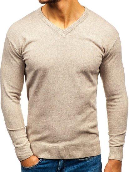 Sweter męski w serek beżowy Bolf 6002
