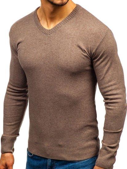 Sweter męski w serek brązowy Bolf 6002