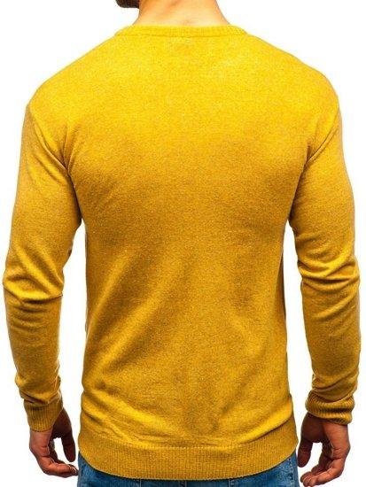 Sweter męski w serek camelowy Bolf 6002
