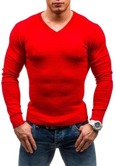 Sweter męski w serek czerwony Denley 1813